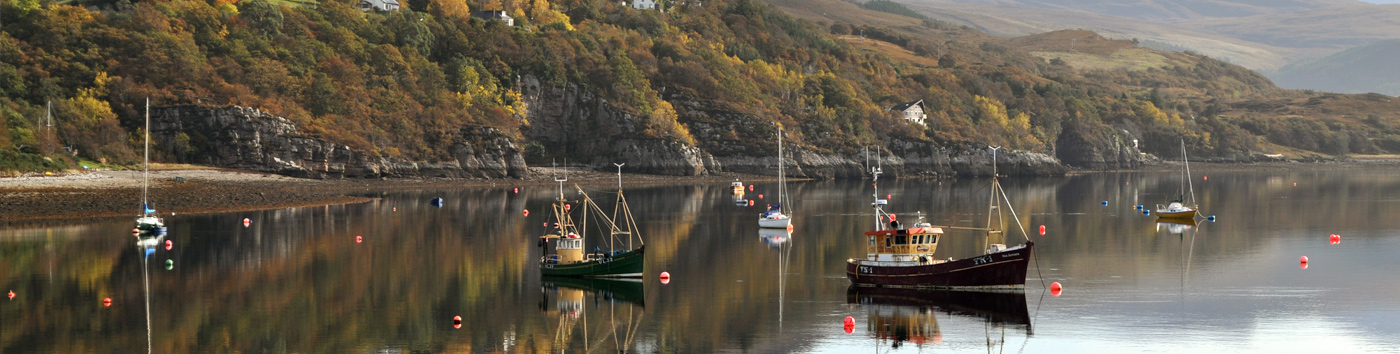 Boats in Ullapool Harbour from Highland Bothies