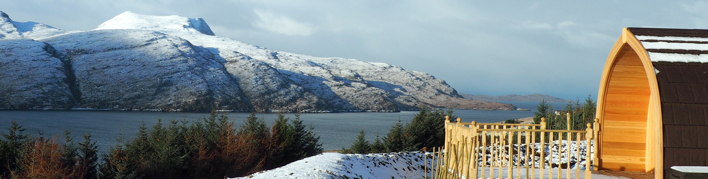A snowy scene over looking Lochbroom from the Highland Bothies
